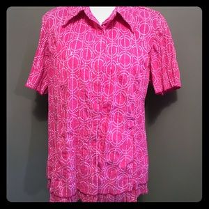 Pink embroidered blouse 1X